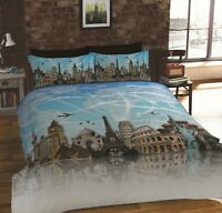 Rapport All Around The World Famous Landmarks Places Duvet Cover Bedding Set