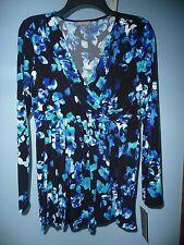 NWT Women's Daisy Fuentes Black/Blue/White Floral Wrap Top Size M Retail $40