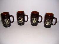 Vintage Set of 4 USA Bicentennial 1776-1976 Brown Drinking Glass Mug Very Nice!