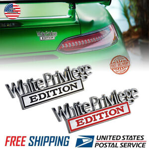 2x White Privilege Edition Car Truck 3D Letter Fender Emblem Badge Sticker Decal