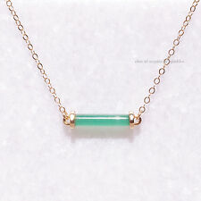 *EXTREMELY RARE* $180 14K GOLD JADE BAR CHAIN NECKLACE ANTHROPOLOGIE BHLDN