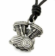 N31 Anhänger V-Zylinder MIT LEDERKETTE Biker Chopper Herren Halskette Necklace