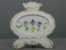 ANTIQUE OPAQUE PANSIES MILK GLASS OVAL SCROLL EASEL PICTURE FRAME DITHRIDGE 1901