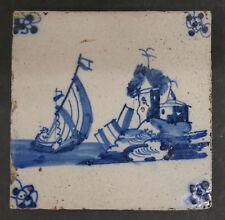 Antique Dutch Tile with Ship Scene