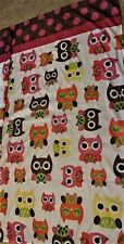 SHOWER CURTAIN Silky Feel Fabric CUTE OWLS Colordul Stylized   B