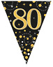 80th Birthday Party Sparkling Age 80 Black & Gold Flag Bunting Banner Decoration