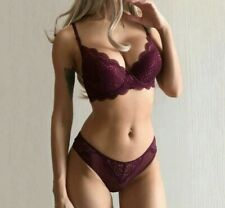 Women's Bra Panty Sets Deep V Purple Brassieres Thick Push Up Lace Sexy Lingerie