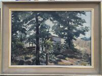 Ölgemälde Landschaft Lone Warsoe? Skandinavien Bäume vor Haus 42,5 x 57,5