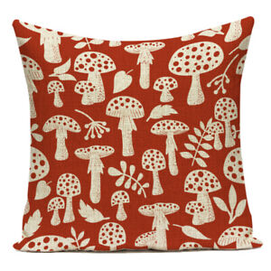 Toadstool Cushion Cover, ketchup red cushion, cotton canvas, British woodland