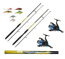 2 x 6FT Sportstar 2PC Spinning Fishing Rods and Reels + Lures trout,sea fishing