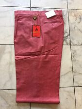 NWT INSERCH  PLEATED LINEN Blend Burgundy PANTS MENS SIZE 44