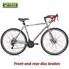 "Kent Road Bike Silver 22.5"" Men Bicycle 21-Speed Shimano Disc Brake Sport Hybrid"