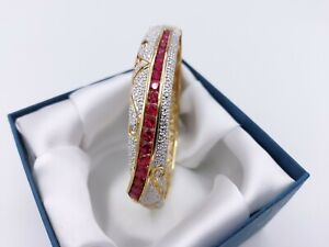 Beautiful Vintage 14k Yellow Gold Over Sterling Ruby Bangle Bracelet, 27g
