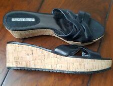 Charles David Womens Sandals Black Platform Cork Wedge 8 Open Toe Slip On Shoes