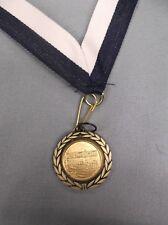"""Music notes gold medal award navy blue/white neck drape 1 1/4"""" diameter"""