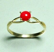 14k solid yellow gold 5mm cabochon natural Red Coral nice ring 1.15 gram, size 7
