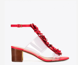 Tory Burch NEW Blossom 55MM Red Leather Sandal Clear PVC Block Heel US 7 $535