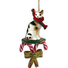 Tortoise & White Cornish Rex Cat Candy Cane Ornament