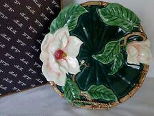 "Rare Fitz & Floyd Green Magnolias Canape Plate Raised Flowers 9"" Orig Box 95' 3D"