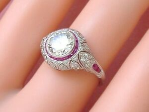 1.34 Ct CZ Round Cut & Ruby Vintage Antique Engagement Ring 925 Sterling Silver