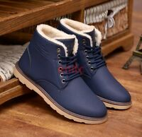 New Winter Warm Fur Lined Lace Up High Top Men Ankle Snow Boots Casual Shoes C50