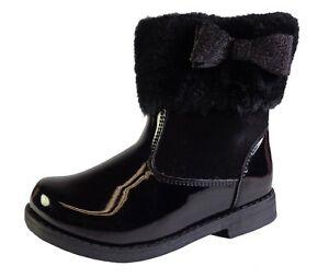 Girls Kids Child black ankle boots fur pattern zip glitter star comfort winter