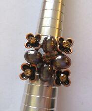 brown orange stones- adjustable Fashion Ring- Square gold color-