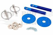 Universal Aluminum Hood Pin Latch Bonnet Flip Locking Kit Blue Chevy Ford Mopar