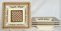 "Williams Sonoma Italian Tile 4 BOWLS Tuscan, Italy, 8 1/4"" Square, Unused/Mint!"