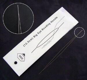 1 Grande aiguille 12.5cm Long chas pour perles - perlage - ACIER INOXYDABLE