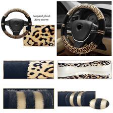 "15""/38cm Car SUV Steering Wheel Cover Warm Soft Leopard Print Fashionable Plush"