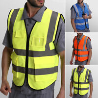 Pockets Safety Vest Reflective Bar Security Waistcoat Warp Knit Zipper Front New