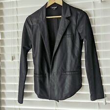 Lucky Brand Women's Coated Open Front Jacket Cotton Black Small blazer