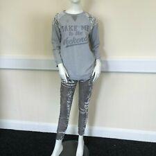 Peacocks Ladies Grey Velvet Velour Pyjama Bottoms Top Jumper Set UK Size 10-12