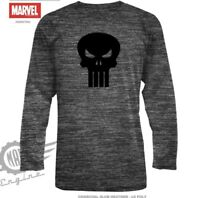 The Punisher Mens Marvel Charcoal Heather Long Sleeve Logo Front Tee T-Shirt New