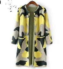 Women Autumn New Camouflage Long Knitted Sweater Cardigan jacket trench parkas