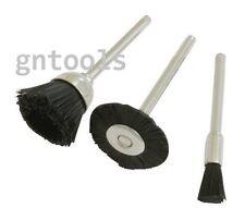 3Pc Nylon Wire Wheel Brush Suit Mini Rotary Drills Diameters 22, 15 & 5mm 2523