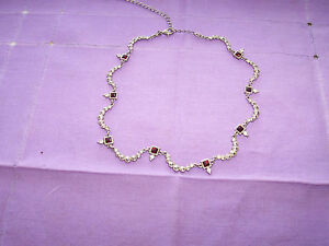 AVON-NR-FAUX RUBY STONES-SILVER-W/SPARKLE STONES-NONE MISSING/ADJUSTABLE-simulat