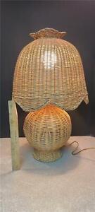 Vintage 3-Way Wicker Table Lamp w/ Matching Mushroom Shade Metal Frames Boho TAN