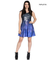 Hell Bunny Alchemy Gothic Black Mini Skater Dress SHADOW Raven Rose All Sizes