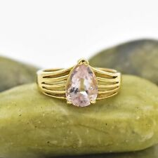 14k Yellow Gold Estate Open Band Pear Rose Quartz Ring Size 6.25