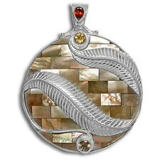 Offerings Sajen Ss Brown Shell Mosaic, Garnet, Citrine & Smoky Quartz Pendant