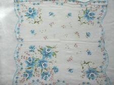 Beautiful Blue Floral Vintage Handkerchief Granny Hankie Think Spring As Is