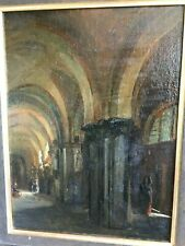 Tableau ancien anonyme intérieur d'église. HST 32x24.5 hors cadre