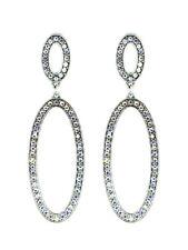 Double Oval AB Rhinestone Dangle Hoop Worn Silver Tone Aurora Borealis Earrings