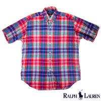 Ralph Lauren Mens L Short Sleeve Button Down Blake Cotton Shirt Plaid Red