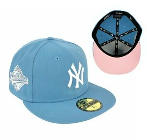 Yankees Sky Blue 1996 World Series Side Patch New Era Fitted Hat Cap Pink UV