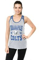 Indianapolis Colts Tank Top Shirt Womens XL Ultra Game NFL Team Apparel Gray