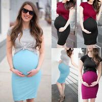 2PCS Women Maternity Pregnant Plus Solid Office Short Sleeve Tops+Vest Dress Set