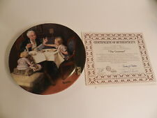 """Edwin M Knowles China Co """"The Gourmet"""" Norman Rockwell plate #96275 With COA"""